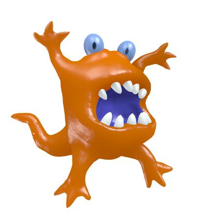 Cartoon monster big head. 3D illustration. Funny cute emoticon orange character.