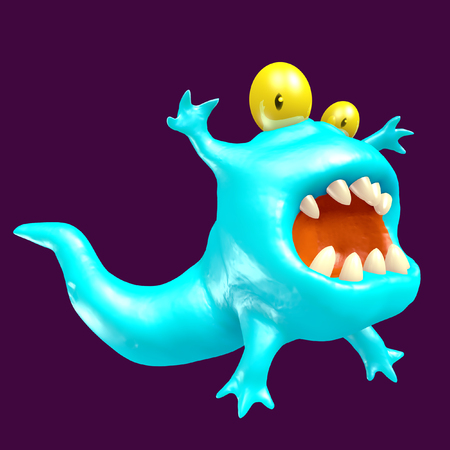 Cute blue tadpole monster. Funny emoticon character. 3D illustration. Stock Photo
