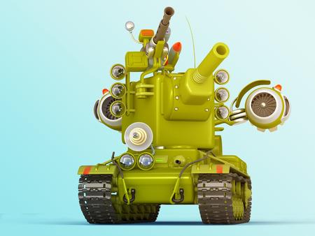 Cartoon Ultra Tank. Science Fiction Military Equipment. 3D Illustration. Blue Background.