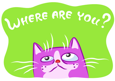 Lonely cat vector illustration. Funny cheerful pet. Cartoon pink kitten character on green background. Illustration
