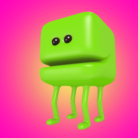 Funny green cube on legs. Cute emoticon character. 3d illustration.