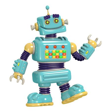 Cartoon robot 3D illustration. Science fiction . Original cute character.