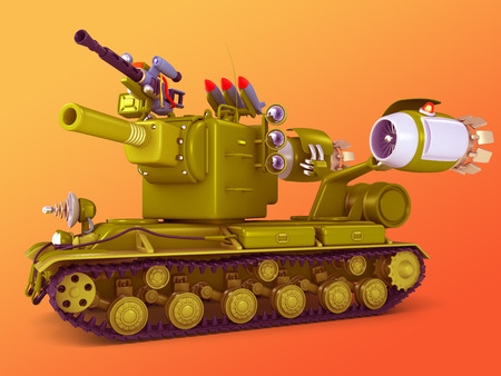 technics: Cartoon ultra tank. Science fiction military equipment. 3D illustration.