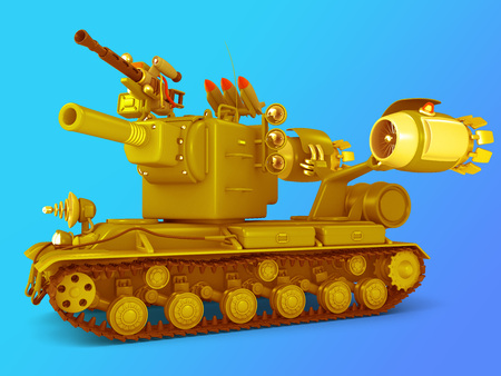 Cute mega tank. Science fiction military equipment. 3D illustration. Blue background Stock Photo