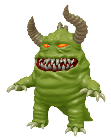 bacteria cartoon: Funny cute monster with horns 3D render. Funny cartoon character.