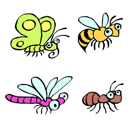 Funny cartoon insects crawling somewhere. Vector illustration. Contour freehand digital drawing cute characters. Butterfly, wasp, dragonfly and ant. White color background.