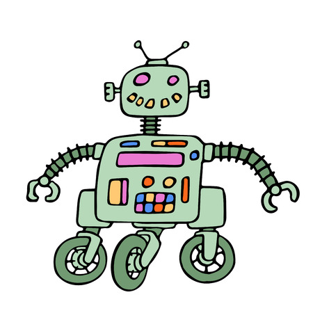 cybernetics: Funny robot on wheels with red eyes. Vector illustration. Original cartoon vintage character.