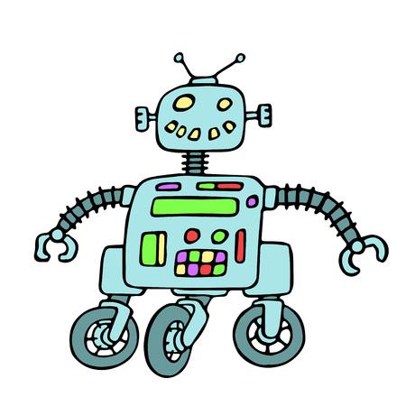 Cheerful robot on wheels vector illustration. Original cartoon retro blue character.