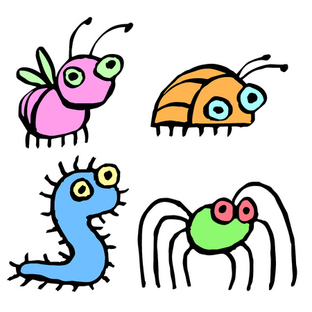 glowworm: Funny cartoon insects flying and crawling somewhere. Vector illustration. Contour Freehand Digital Drawing Cute Characters. White Color Background.
