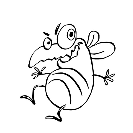 hairy legs: funny dancing cute fly. vector illustration. cartoon character.