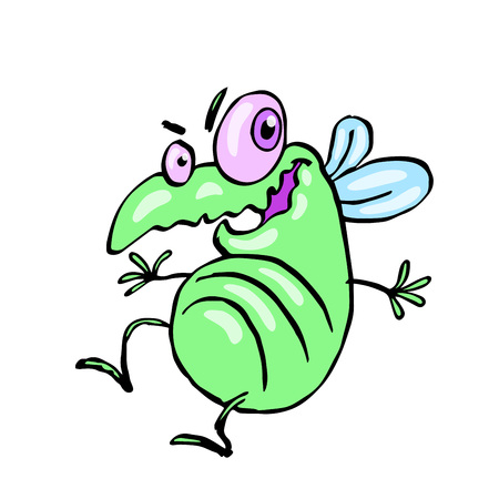 funny dancing cute fly. vector illustration. cartoon green character.