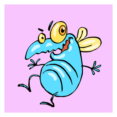 funny dancing cute fly. vector illustration. cartoon blue character. Illustration