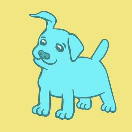 Cute blue puppy dog. Vector illustration. Cartoon fur character. Contour freehand digital drawing. Cheerful pet. Illustration