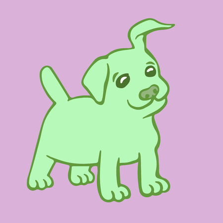 Cute green puppy dog. Vector illustration. Cartoon fur character. Contour freehand digital drawing. Cheerful pet. Illustration