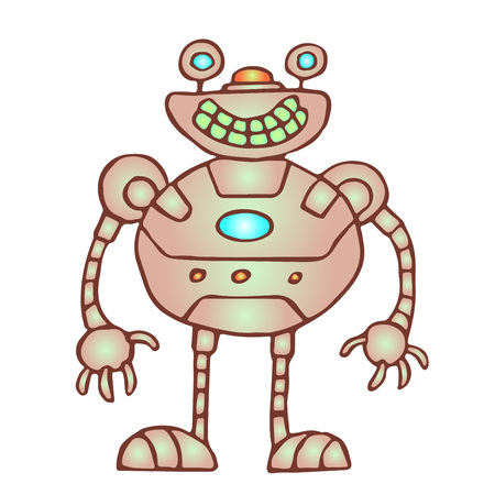 Funny rounded robot. Vector illustration. Original cartoon vintage character.