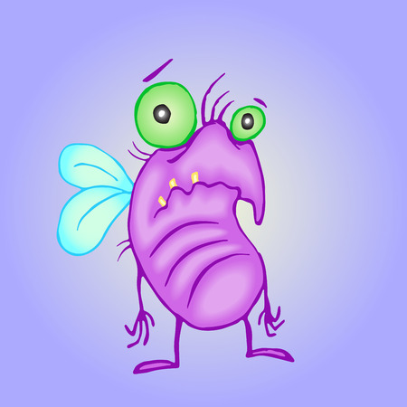 Cartoon melancholy pink fly. Vector illustration. Digital drawing poor cute character.