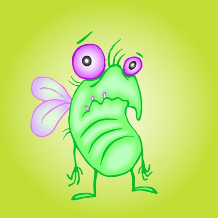 słodka nieszczęśliwa mucha. ilustracji wektorowych. melancholijny postać z kreskówki.
