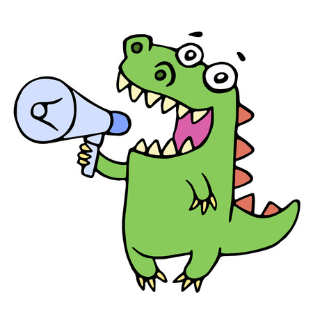 Funny smiling dinosaur shouting in megaphone. Vector illustration. Cute cartoon character. Illustration