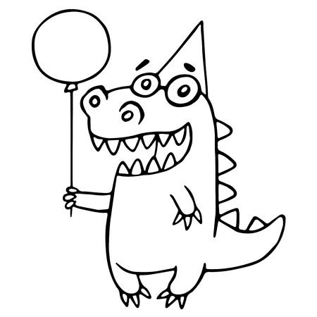 Cartoon dragon congratulates. Vector illustration. Kind cute cheerful character.