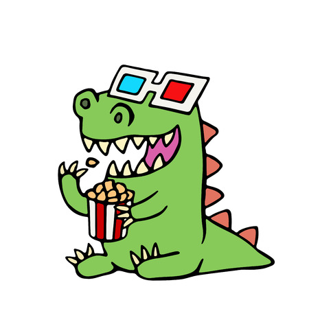 Funny dinosaur in 3d glasses and a box of popcorn. Vector illustration. Cute cartoon character.