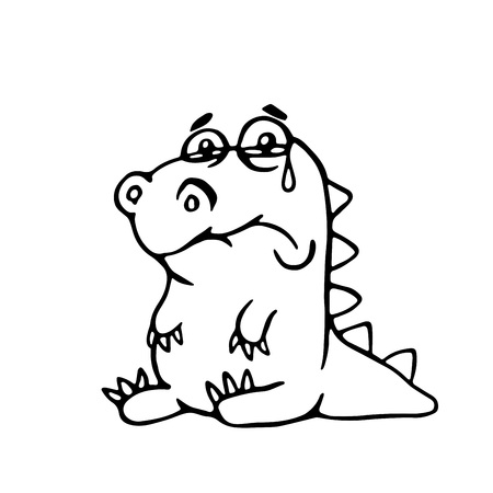 cute sad dragon. vector illustration. funny cartoon character. Illustration