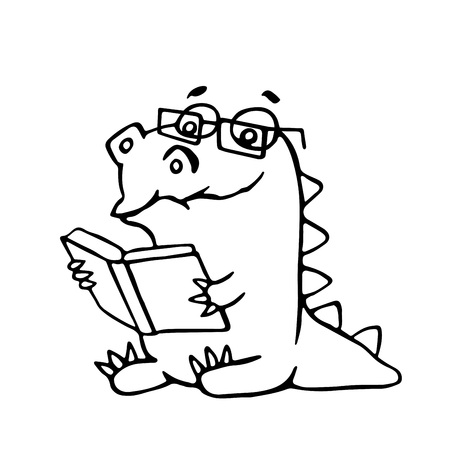 poems: The dragon sits and reads a book. Vector illustration. Glasses on a separate layer. Illustration