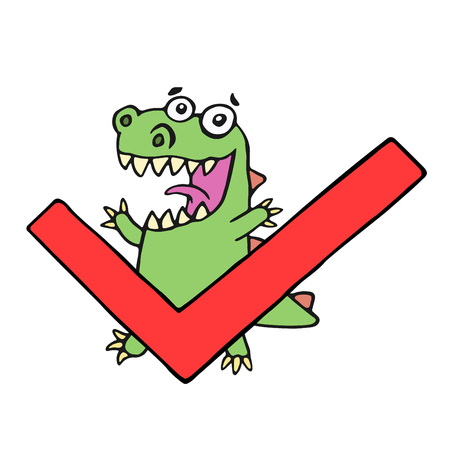 Funny dinosaur and tick. Vector illustration. Cute cartoon character.