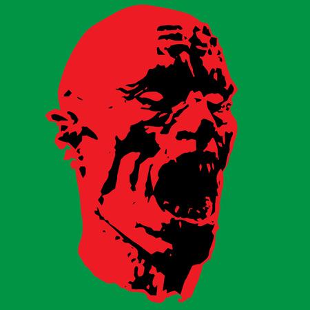 biohazard: zombie screams head. horror image. vector illustration Illustration