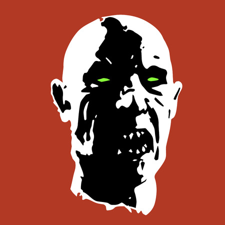 zombie face. horror picture. vector illustration Illustration