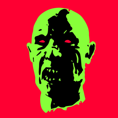 massacre: zombie face. horror picture. scary character. vector illustration Illustration