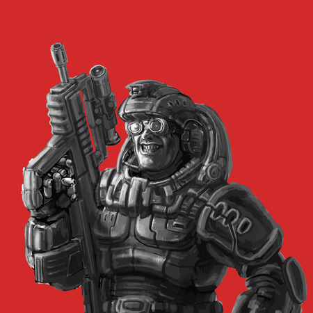 Smiling trooper in fantastic suit with a machine gun. Vector illustration. Cool art for cover, web icons and print.