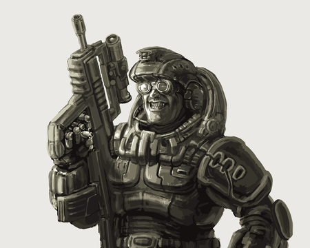 Gloating soldier in fantastic suit with a rifle. Vector illustration. Science fiction original character.