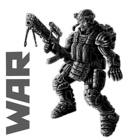 Heavy infantry in armor suit with a large plasma rifle. Vector illustration. Science fiction original character the soldier of the future. Illustration