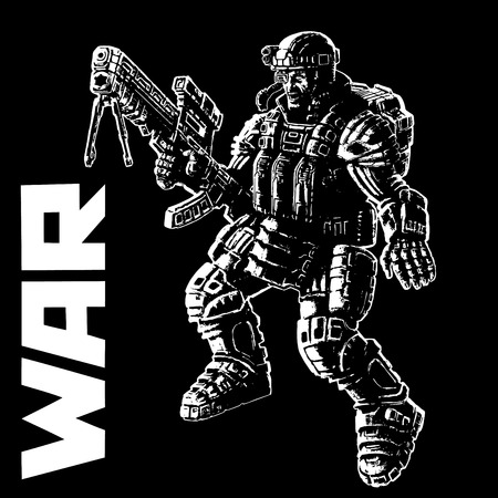 Heavy infantry in armor suit. Vector illustration. Cool art for cover, web icons and print.