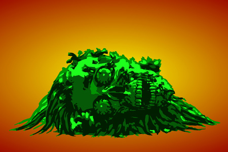 Dead head lies in a pile of purulence. Vector illustration. Orange background. Illustration