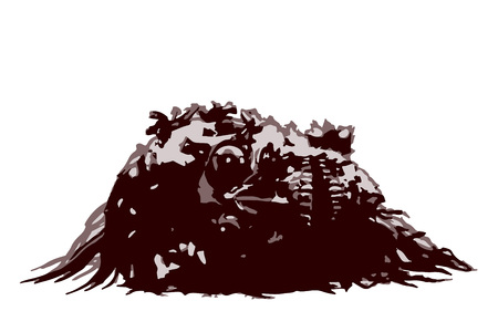 Demon skull lies in a pile of pus. Vector illustration. Severed head. Horror picture to Halloween