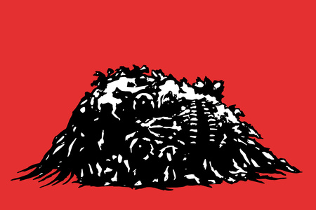 pus: Horror skull lies in a pile of purulence. Vector illustration. Red background.