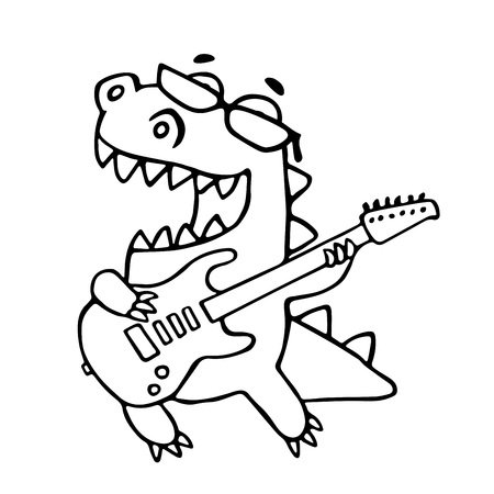The dragon playing the electric guitar in black glasses. Vector illustration. Glasses on a separate layer. Illustration