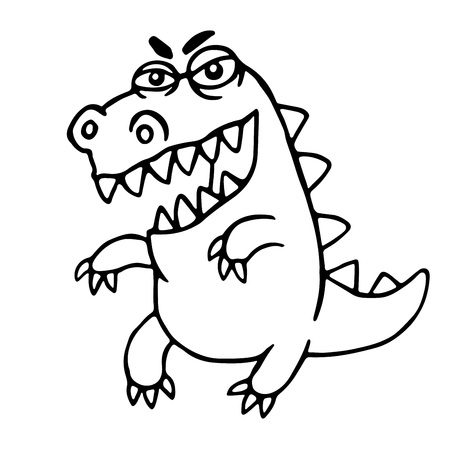 Angry cartoon dragon. Vector illustration. Cute imaginary animal character.