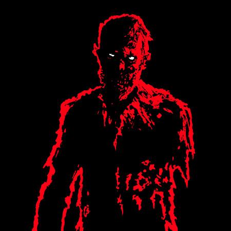Empresario Zombie en colores negro y rojo. Concepto de personaje de terror Fondo negro. Ilustración vectorial Ilustración de vector