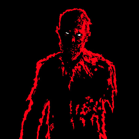 massacre: Zombie businessman in black and red colors. Horror character concept. Black background. Vector illustration. Illustration