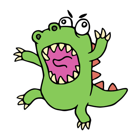 Mad cartoon dinosaur. Vector illustration. Cute imaginary animal character. Illustration