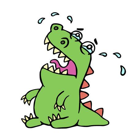 泣いている恐竜を漫画します。ベクトルの図。貧しい憂鬱な性格。