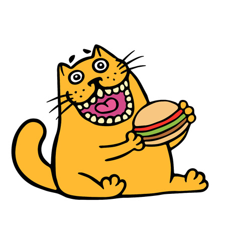 beefburger: Cartoon orange cat is eating a hamburger. Funny cool character. Contour freehand digital drawing cute cat. White color background. Cheerful pet for web icons and shirt. Isolated vector illustration.