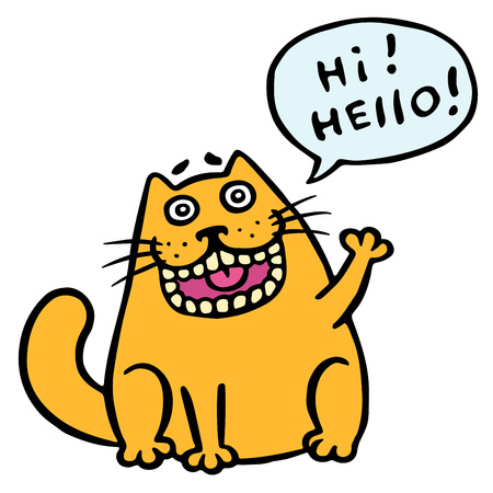 Funny communicable cat says hello. Speech Cloud. ?ute emoticon character. Cheerful pet. Vector Illustration. Illustration
