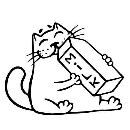 pasteurized: Cartoon cat is drinking milk. Funny cartoon cool character. Contour freehand digital drawing cute cat. White color background. Cheerful pet for web icons and shirt. Isolated vector illustration.