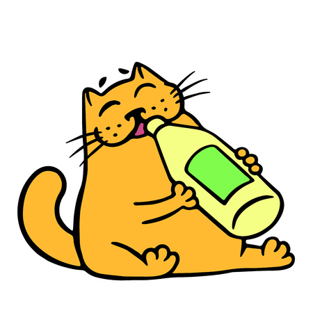 Cute orange cat drinks lemonade. Funny cartoon cool character. Contour freehand digital drawing cute cat. White color background. Cheerful pet for web icons. Isolated vector illustration.