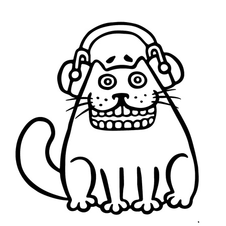 chrome: Cute cat in headphones. Funny cartoon cool character. Contour freehand digital drawing cat. White color background. Isolated vector illustration. Illustration