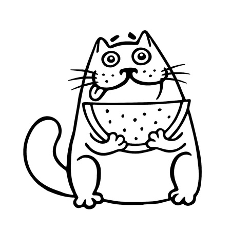 Thick cat with watermelon. Funny cartoon cool character. Isolated vector illustration. White color background. Funny cartoon character.