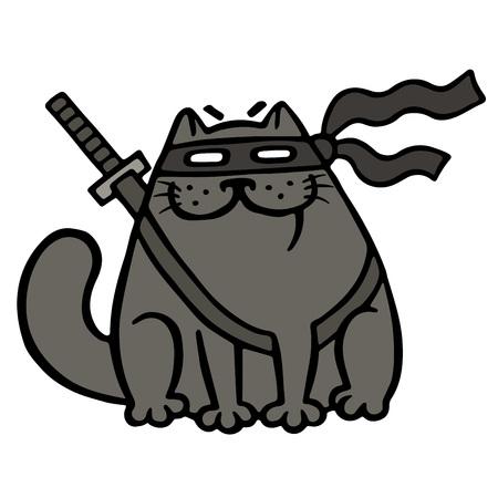 silueta de gato: Cartoon fat ninja cat in a mask and a sword. Funny cool warrior character. Isolated vector illustration. Vectores